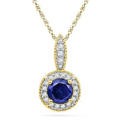 0.15 CTW Created Blue Sapphire Solitaire Diamond Pendant 10KT Yellow Gold - REF-14W9K