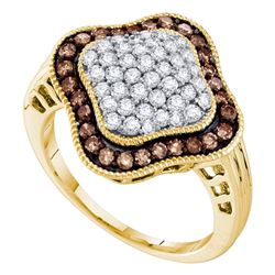 1 CTW Cognac-brown Color Diamond Cluster Ring 10KT Yellow Gold - REF-34Y4X