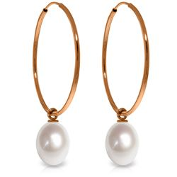 Genuine 8 ctw Pearl Earrings Jewelry 14KT Rose Gold - REF-23H2X