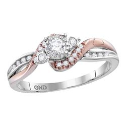 0.26 CTW Diamond Solitaire Bridal Engagement Ring 14KT Two-tone Gold - REF-44W9K