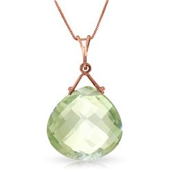 Genuine 8.5 ctw Green Amethyst Necklace Jewelry 14KT Rose Gold - REF-26T9A
