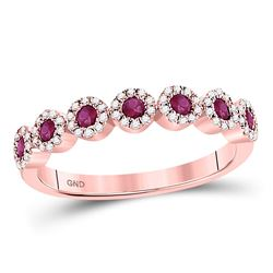 0.46 CTW Ruby & Diamond Ring 10KT Rose Gold - REF-40H8F