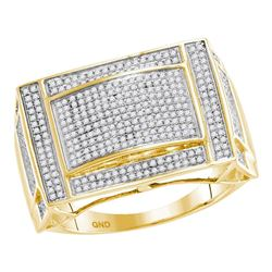 0.76 CTW Mens Pave-set Diamond Convex Dome Ring 10KT Yellow Gold - REF-87F2N