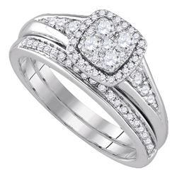 0.63 CTW Diamond Halo Bridal Engagement Ring 14KT White Gold - REF-97H4M