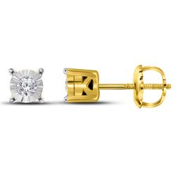 0.11 CTW Diamond Solitaire Stud Earrings 10KT Yellow Gold - REF-12F2N