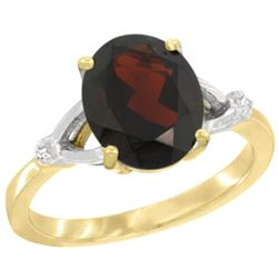 Natural 2.41 ctw Garnet & Diamond Engagement Ring 14K Yellow Gold - REF-37M3H
