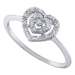 0.04 CTW Diamond Heart Cluster Ring 10KT White Gold - REF-7N4F