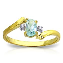 Genuine 0.46 ctw Aquamarine & Diamond Ring Jewelry 14KT Yellow Gold - REF-29P3H