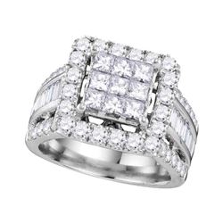 3 CTW Princess Diamond Cluster Bridal Engagement Ring 14KT White Gold - REF-299F9N