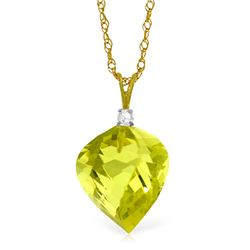 Genuine 10.80 ctw Lemon Quartz & Diamond Necklace Jewelry 14KT Yellow Gold - REF-27R5P