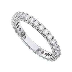0.50 CTW Pave-set Diamond Eternity Wedding Anniversary Ring 14KT White Gold - REF-59W9K