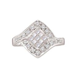 0.50 CTW Princess Diamond Square Cluster Ring 14KT White Gold - REF-32F9N