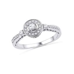 0.40 CTW Diamond Solitaire Halo Bridal Engagement Ring 10KT White Gold - REF-34H4M
