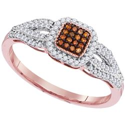 0.25 CTW Red Color Diamond Square Cluster Ring 10KT Rose Gold - REF-22H4M