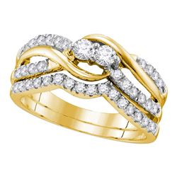0.74 CTW Diamond 2-Stone Bridal Wedding Engagement Ring 14KT Yellow Gold - REF-75M2H