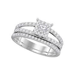 1 CTW Diamond Princess Bridal Engagement Ring 14KT White Gold - REF-112X5Y