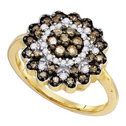 0.65 CTW Cognac-brown Color Diamond Flower Cluster Ring 10KT Yellow Gold - REF-41W9K