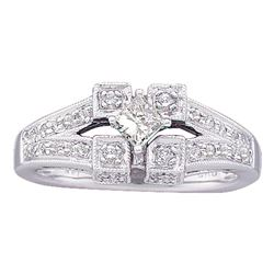 0.50 CTW Princess Diamond Solitaire Bridal Engagement Ring 14KT White Gold - REF-52M4H