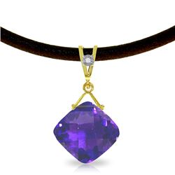 Genuine 8.76 ctw Amethyst & Diamond Necklace Jewelry 14KT Yellow Gold - REF-30Z6N