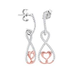 0.25 CTW Diamond Dangle Infinity Heart Earrings 10KT Two-tone Gold - REF-22K4W