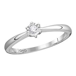 0.07 CTW Diamond Solitaire Bridal Engagement Ring 10KT White Gold - REF-12Y2X