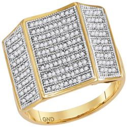 0.50 CTW Mens Pave-set Diamond Concave Rectangle Cluster Ring 10KT Yellow Gold - REF-71X8Y