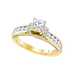 1.25 CTW Princess Diamond Solitaire Bridal Engagement Ring 14KT Yellow Gold - REF-206F9N