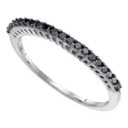 0.25 CTW Black Color Diamond Slender Slim Thin Anniversary Ring 10KT White Gold - REF-8F9N