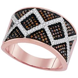 0.50 CTW Red Color Diamond Symmetrical Ring 10KT Rose Gold - REF-75H2M