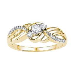 0.25 CTW Diamond 3-stone Bridal Engagement Ring 10KT Yellow Gold - REF-26M9H