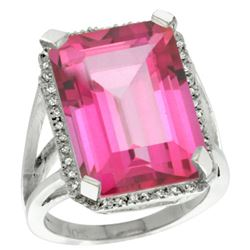 Natural 15.06 ctw Pink-topaz & Diamond Engagement Ring 14K White Gold - REF-81A9V