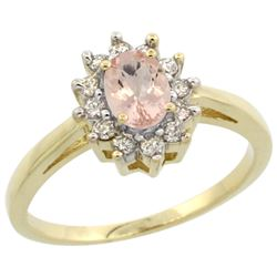 Natural 0.64 ctw Morganite & Diamond Engagement Ring 10K Yellow Gold - REF-40N5G