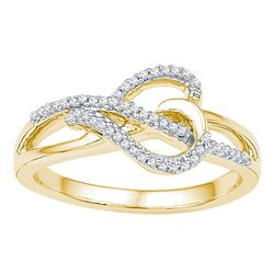 0.16 CTW Diamond Heart Infinity Ring 10KT Yellow Gold - REF-20X9Y