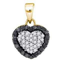 0.33 CTW Black Color Diamond Small Heart Love Pendant 10KT Yellow Gold - REF-14X9Y