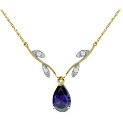 Genuine 1.52 ctw Sapphire & Diamond Necklace Jewelry 14KT Yellow Gold - REF-35R9P