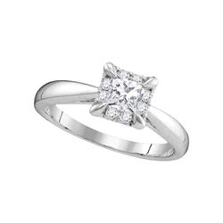 0.50 CTW Princess Diamond Solitaire Bridal Engagement Ring 14KT White Gold - REF-97Y4X