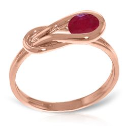 Genuine 0.65 ctw Ruby Ring Jewelry 14KT Rose Gold - REF-49Y6F