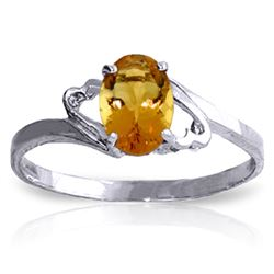 Genuine 0.90 ctw Citrine Ring Jewelry 14KT White Gold - REF-20W7Y