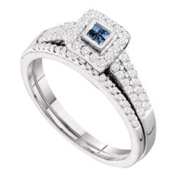 0.50 CTW Princess Blue Color Diamond Halo Bridal Ring 14KT White Gold - REF-59N9F