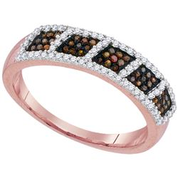 0.33 CTW Red Color Diamond Square Cluster Ring 10KT Rose Gold - REF-30M2H