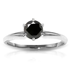 Genuine 1.0 ctw Black Diamond Ring Jewelry 14KT White Gold - REF-81A2K