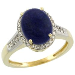 Natural 2.49 ctw Lapis & Diamond Engagement Ring 10K Yellow Gold - REF-29V7F