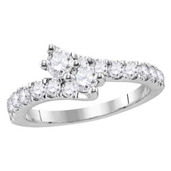 1.01 CTW Diamond 2-stone Bypass Bridal Wedding Engagement Ring 14KT White Gold - REF-112F5N