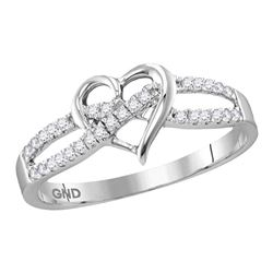 0.15 CTW Diamond Woven Heart Love Ring 10KT White Gold - REF-14N9F