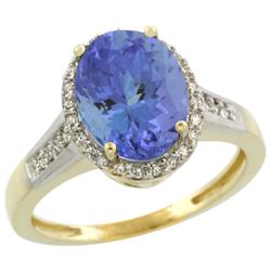 Natural 2.49 ctw Tanzanite & Diamond Engagement Ring 14K Yellow Gold - REF-88A2V
