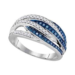 0.34 CTW Blue Color Diamond Ring 10KT White Gold - REF-34W4K