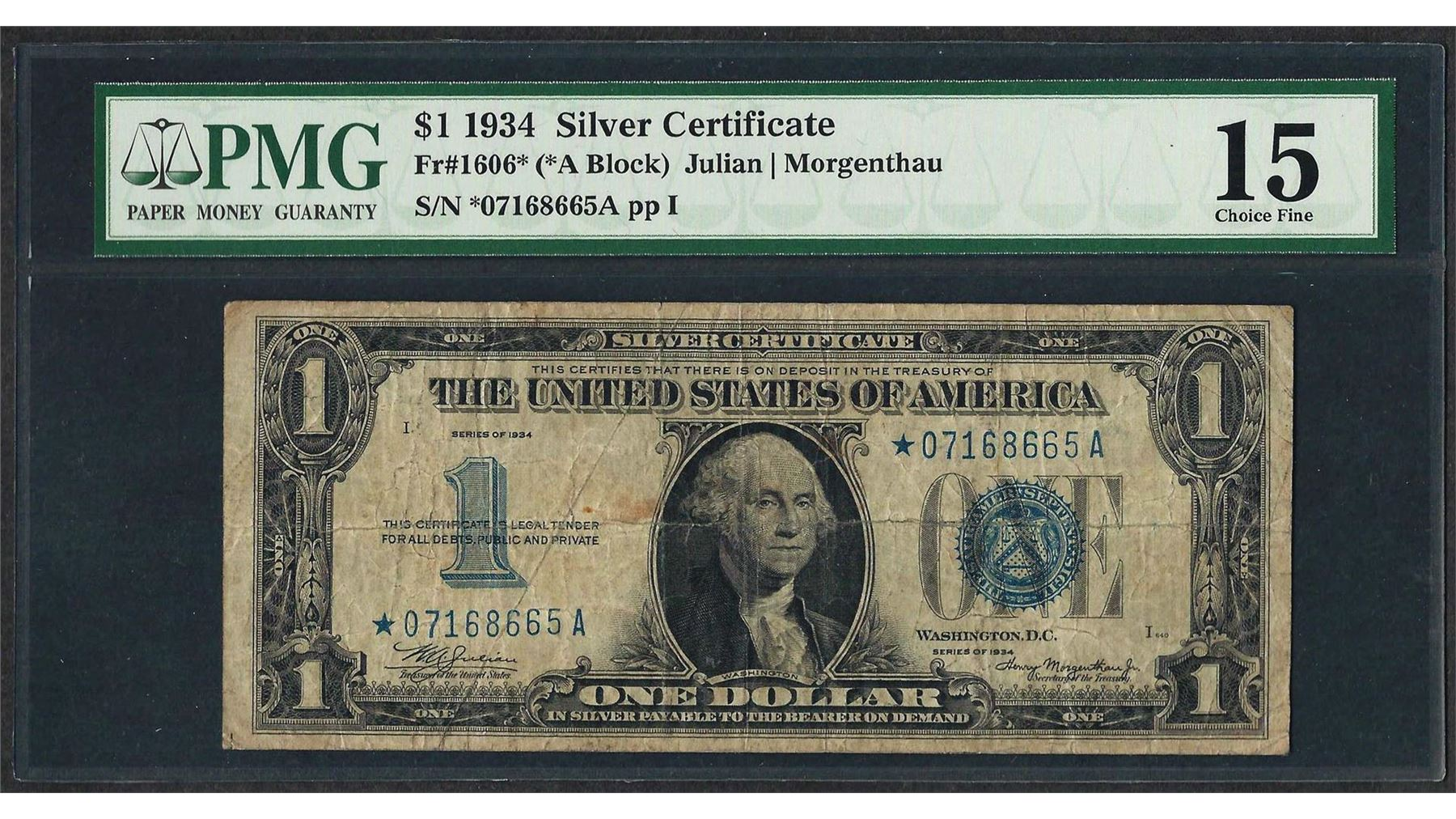 1934 1 Funnyback Silver Certificate Star Note Fr1606 Pmg Choice