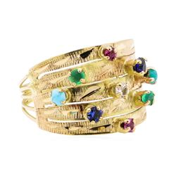 14KT Yellow Gold 0.40 ctw Multi-Colored Gemstone Ring
