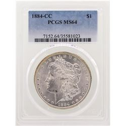 1884-CC $1 Morgan Silver Dollar Coin PCGS MS64