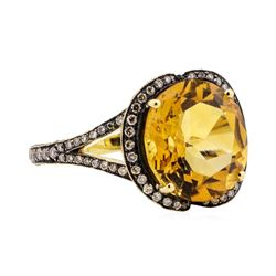 18KT Yellow Gold 3.00 ctw Citrine and Diamond Ring